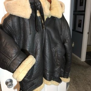 Men's 2XL Bomber Leather Jacket with Hood
